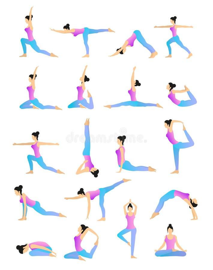 De Vectorreeks van de yogapositie stock illustratie