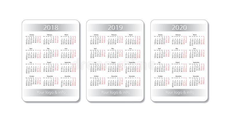 De vectorreeks van de zakkalender 2018, 2019 en 2020 jaar Het witte malplaatje van het Ontwerp royalty-vrije illustratie