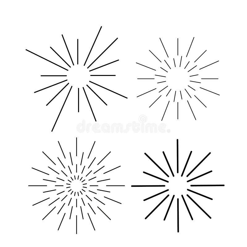 De vectorreeks van de zonnestraalinkt Wijnoogst en hipster zon de inzameling van stralenkaders stock illustratie