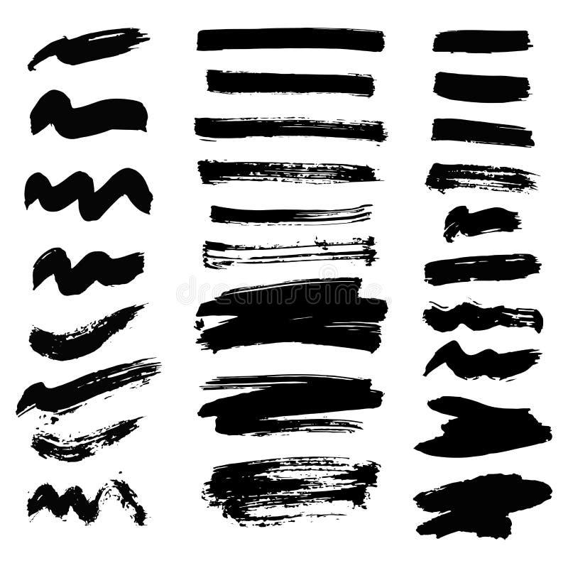 De vectorreeks vlekken van inktplonsen ploetert het element van het inzamelings grunge ontwerp en de kleuren vuile vloeistof van  royalty-vrije illustratie