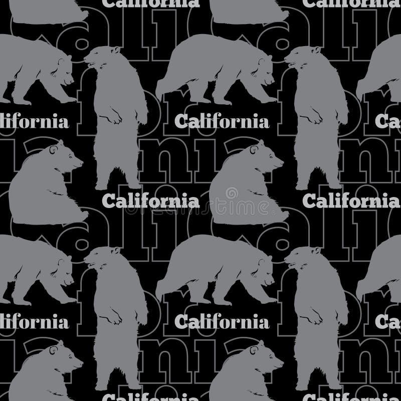 De vectorreis Californië draagt Naadloos Patroon met grijze, en beren die op zwarte achtergrond opstaan lopen zitten vector illustratie