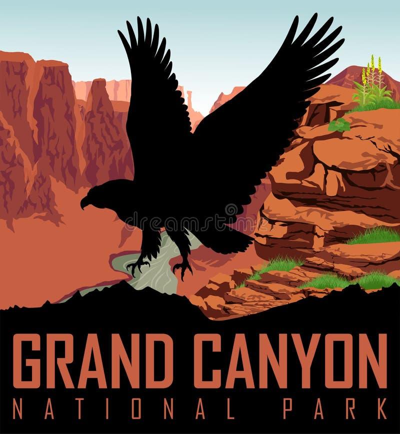 De vectorrivier van Colorado in het Nationale Park van Grand Canyon met kale adelaar royalty-vrije illustratie