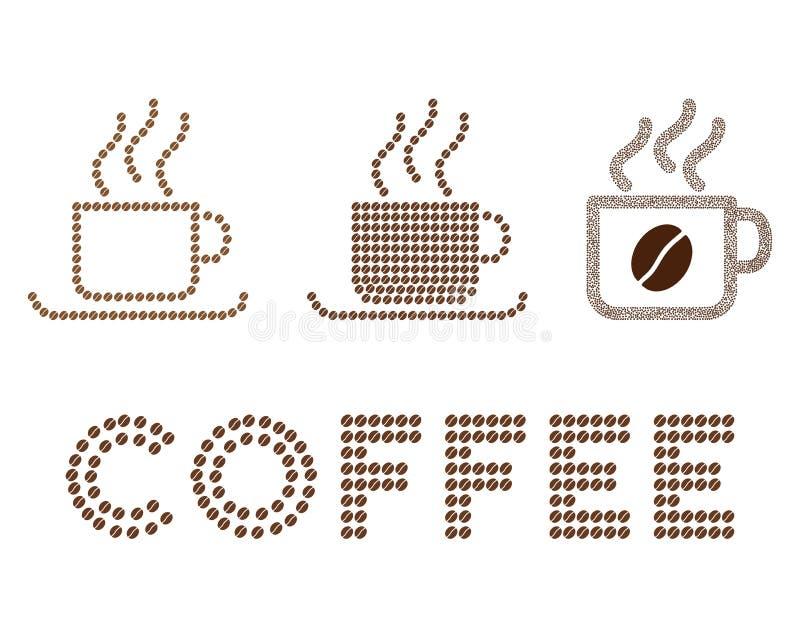 De vectorsamenstelling van koffiekoppen met koffiebonen vector illustratie