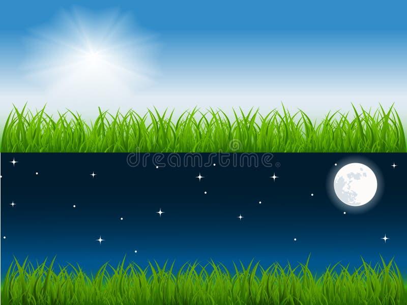 De vectorscène van de dag en van de nacht stock illustratie