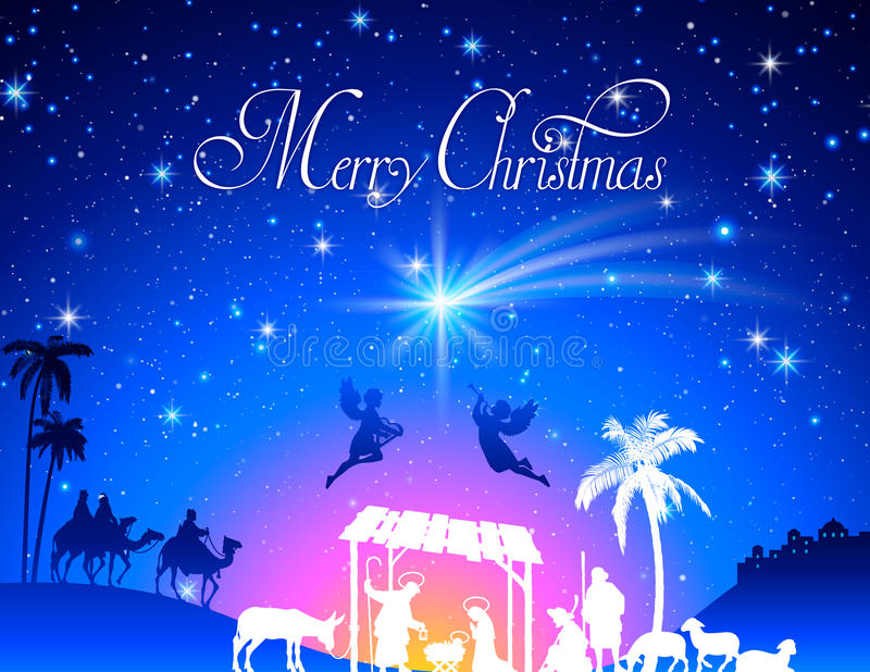 De vectorscène van de Kerstmisgeboorte van christus stock illustratie