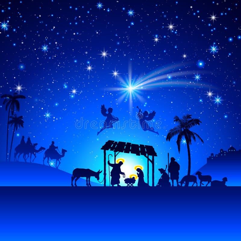 De vectorscène van de Kerstmisgeboorte van christus