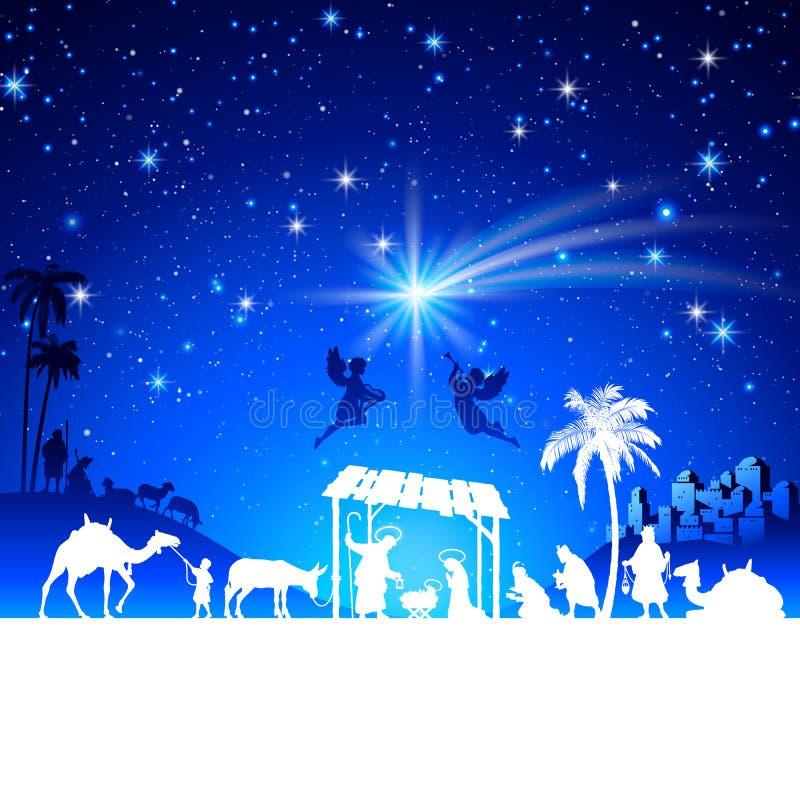 De vectorscène van de Kerstmisgeboorte van christus met de groep van de koningenbewondering royalty-vrije illustratie