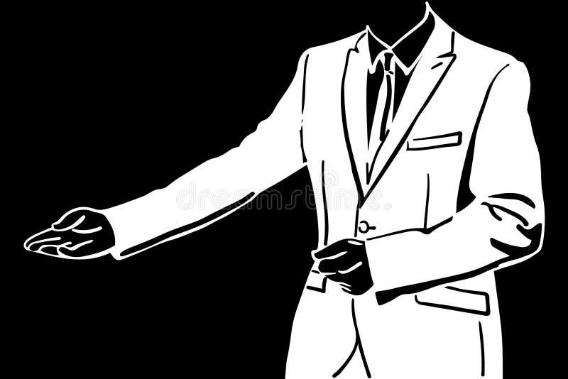 De vectorschets van een ledenpop van mensen in een kostuum nodigt uit vector illustratie
