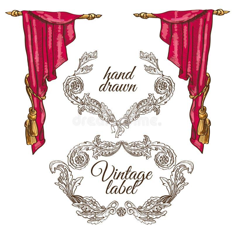 De vectorschets van het theaterstadium royalty-vrije illustratie