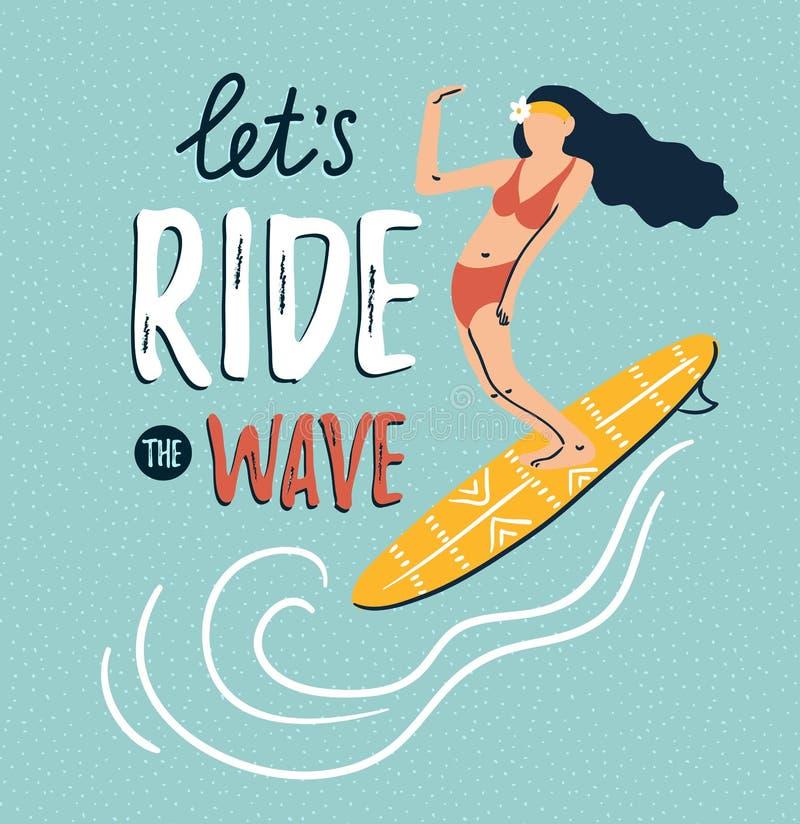 De vectorschets van jonge vrouw zwemt binnen kostuumsilhouet op de surfplank De zomerachtergrond met het modieuze van letters voo vector illustratie