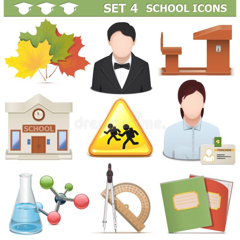 De vectorschoolpictogrammen plaatsen 4 royalty-vrije illustratie