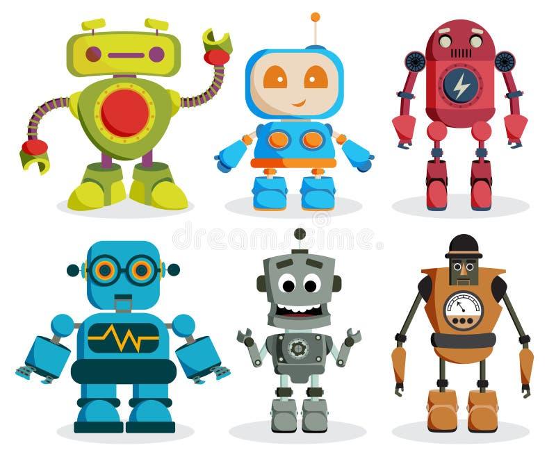 De vectorset van tekens van het robotspeelgoed De kleurrijke elementen van jonge geitjesrobots vector illustratie