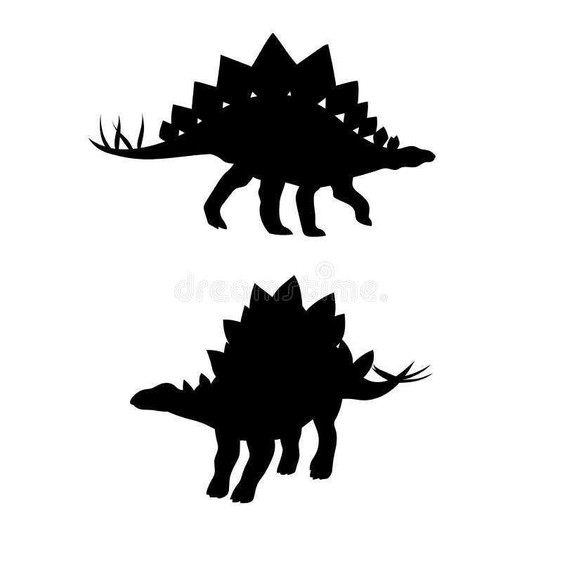 De vectorsilhouetten van de Stegosaurusdinosaurus stock illustratie
