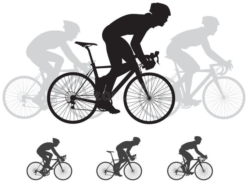 De vectorsilhouetten van het fietsras royalty-vrije illustratie