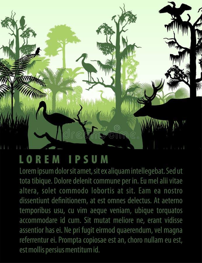 De vectorsilhouetten van het regenwoudmoerasland in zonsondergang ontwerpen malplaatje met reiger, herten, gator, schildpad, king stock illustratie