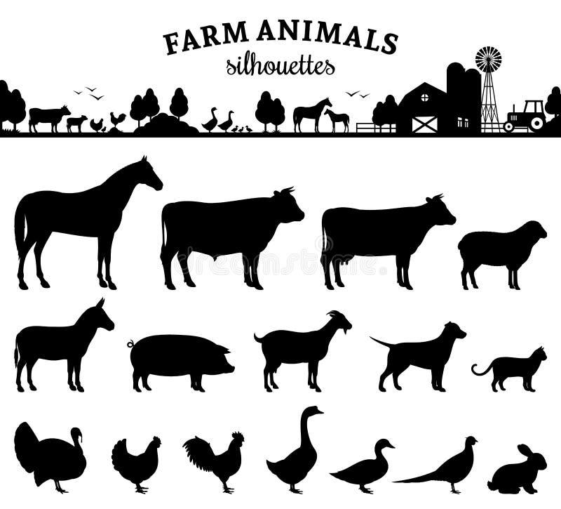 De vectorsilhouetten van Landbouwbedrijfdieren op Wit stock illustratie