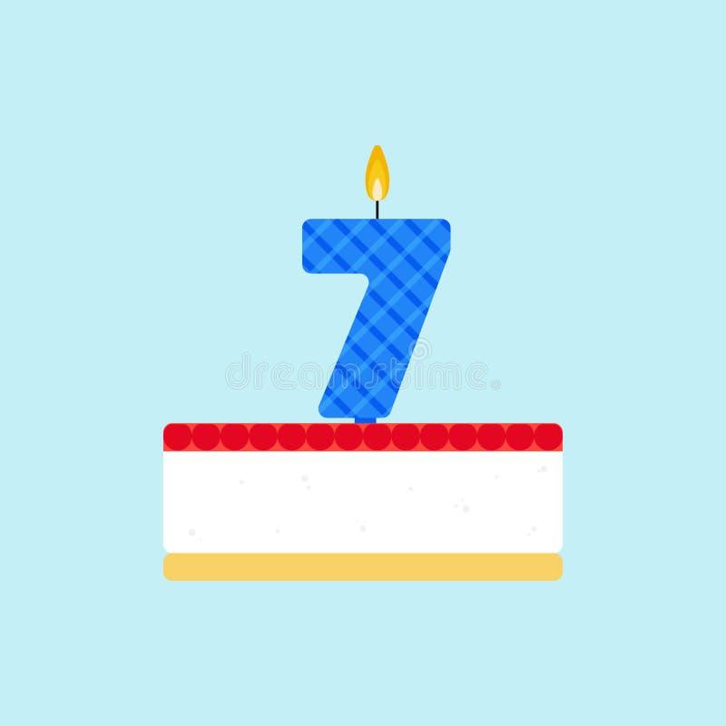 De vectorsoufflé en kersencake van de geleiverjaardag met een verkleumde kaars stock illustratie