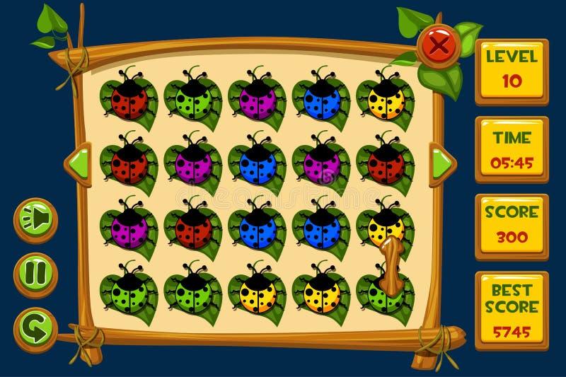 De vectorspelen van interfacelieveheersbeestjes Match3 Multicolored lieveheersbeestje, de pictogrammen van spelactiva en knopen vector illustratie