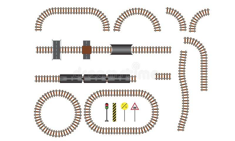 De vectorspoorweg en spoorwegelementen van de sporenbouw Golvende trackway structuur voor de illustratie van de verkeerstrein vector illustratie