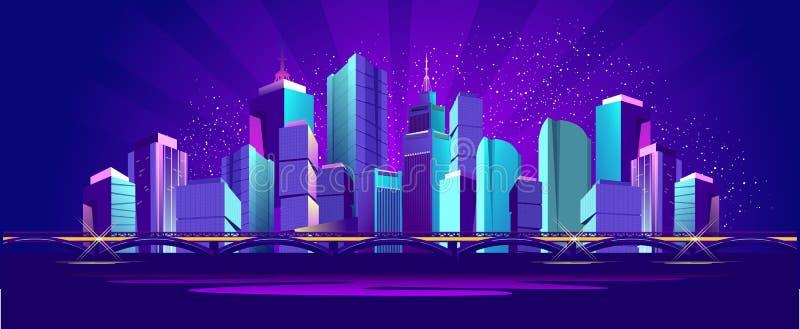 De vectorstad van de bannernacht vector illustratie