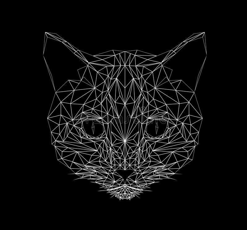 De vectorstijl van de katten dunne lijn Illustratie van het katten de lage polyontwerp Abstract zoogdierdier Geometrisch veelhoek vector illustratie