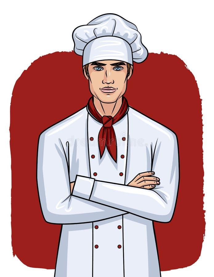 De vectorstijl van het illustratiebeeldverhaal van een knappe jonge mens in eenvormige kok vector illustratie