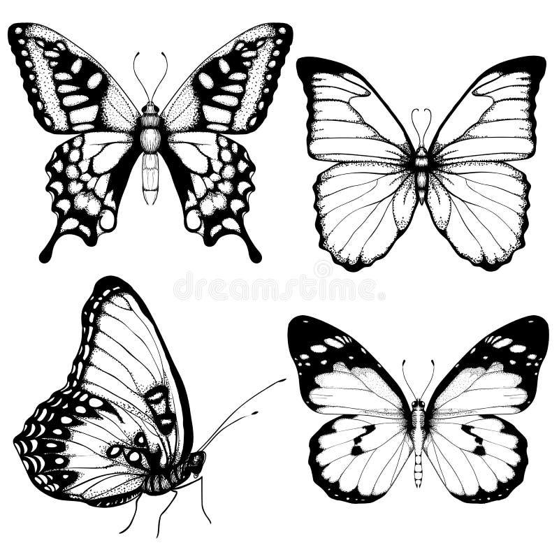 De vectorstijl van de vlinderhand getrokken vastgestelde schets royalty-vrije illustratie