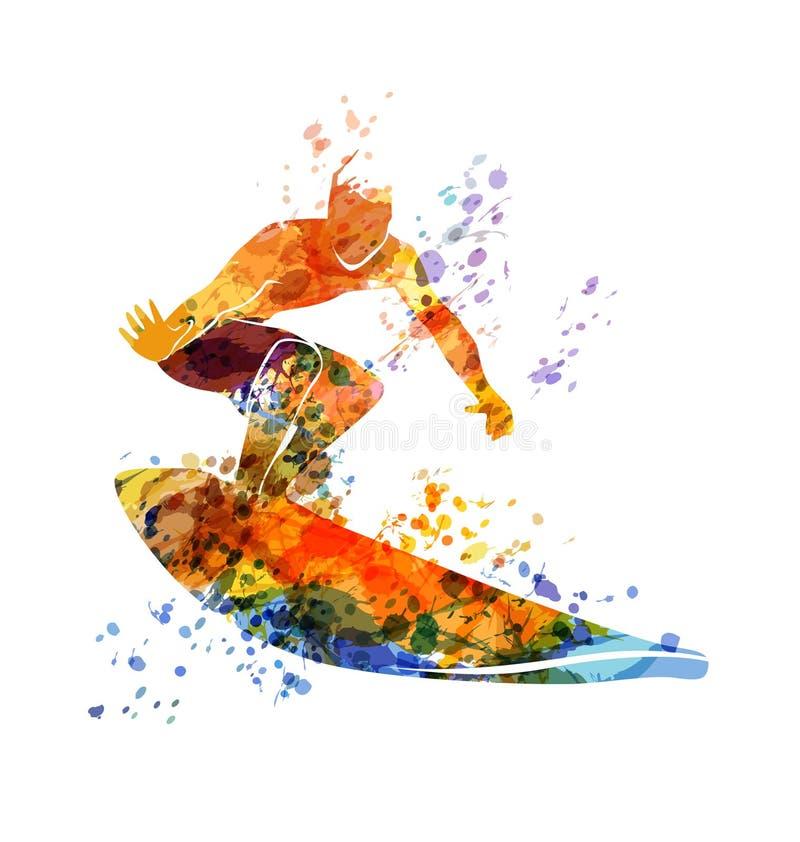 De vectorsurfer van de kleurenillustratie vector illustratie