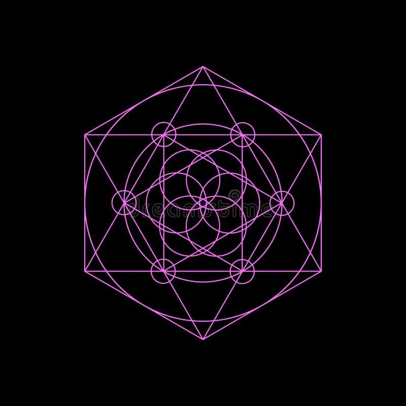 De vectorsymbolen van de neon heilige meetkunde met hexagon driehoek, royalty-vrije illustratie