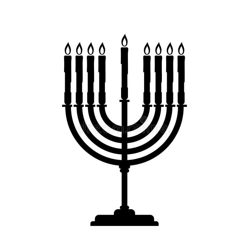 De vectorsymboolillustratie van zwarte Menorah voor Chanoeka is geïsoleerd op de eenvoudige witte achtergrond stock illustratie