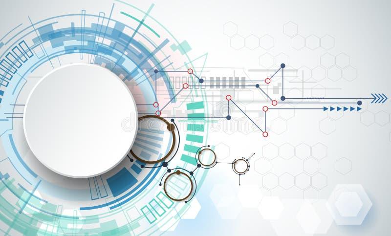 De vectortechnologie van de illustratietechniek Integratie en innovatietechnologieconcept met 3D document etiketcirkels