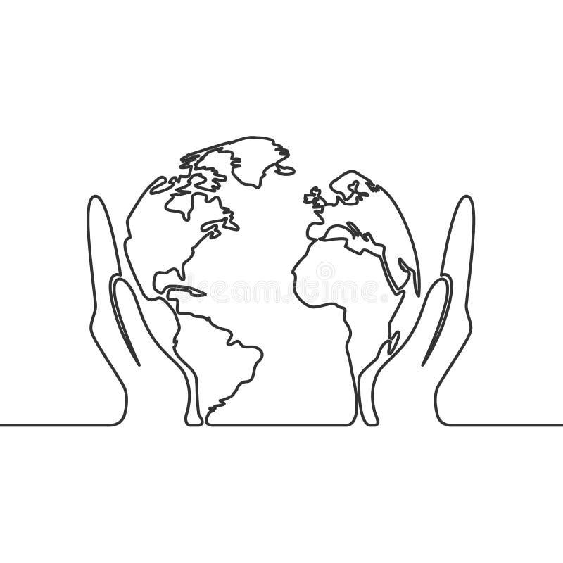 De vectortekening van de beeld ononderbroken lijn van aardebol in menselijke handen royalty-vrije stock afbeeldingen