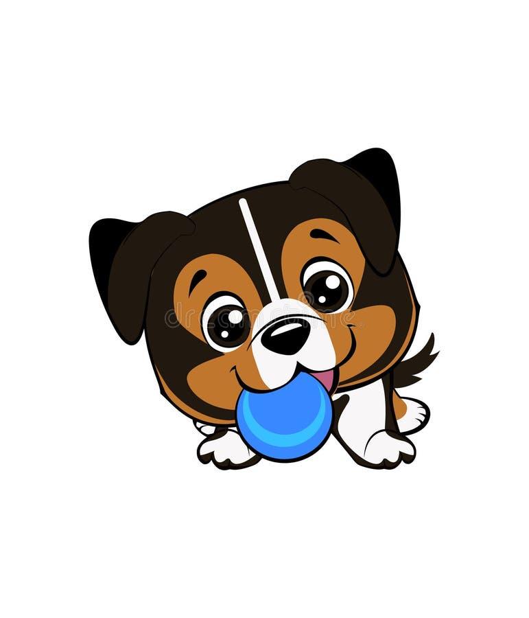 De vectortekening van de beeldverhaalstijl van het speelse puppy spelen met een tennisbal Australisch herdersbeeldverhaal stock illustratie