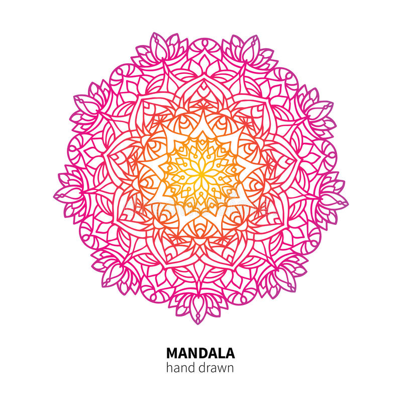 De vectortekening van de Mandalabloem Etnisch kleurrijk decoratief element stock illustratie