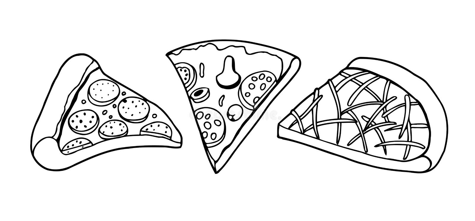 De vectortekening van de Pizzaplak stock illustratie