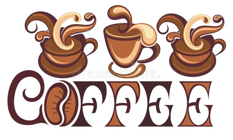 De vectortekening van koffiekoppen vector illustratie