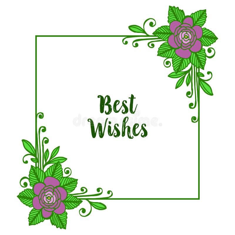 De vectortekst van illustratiebeste wensen met diverse purpere bloei van bouqetkaders vector illustratie