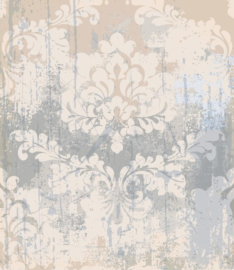 De vectortextuur van het rococo'spatroon De achtergrond van het damastornament grunge Het uitstekende koninklijke effect van de s royalty-vrije illustratie