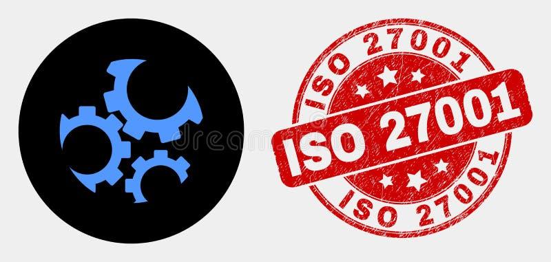 De vectortoestellenpictogram en Verbinding van Grunge ISO 27001 stock illustratie