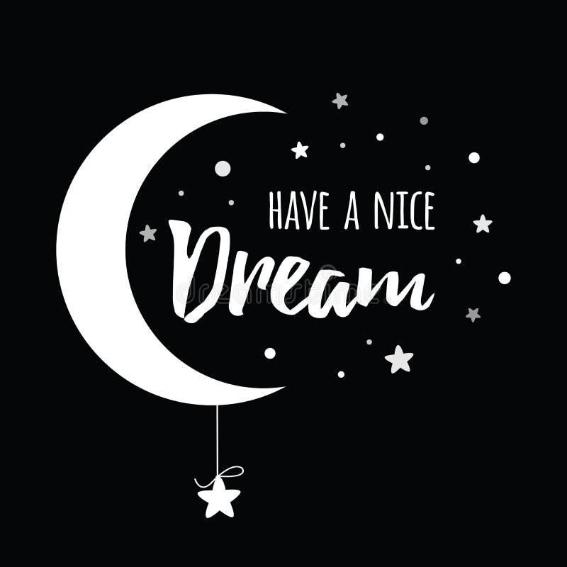 De vectoruitdrukking heeft een aardige droom verfraaide witte maan en sterren op zwarte achtergrond stock illustratie