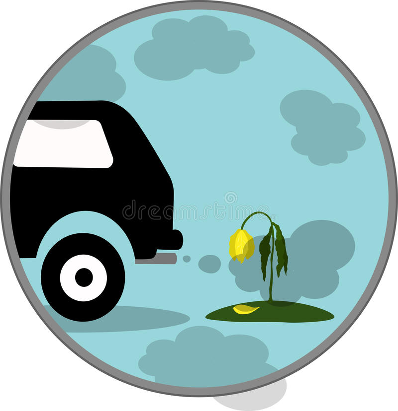 De vectoruitlaat van de illustratieauto, Co2, rook, pictogram stock foto