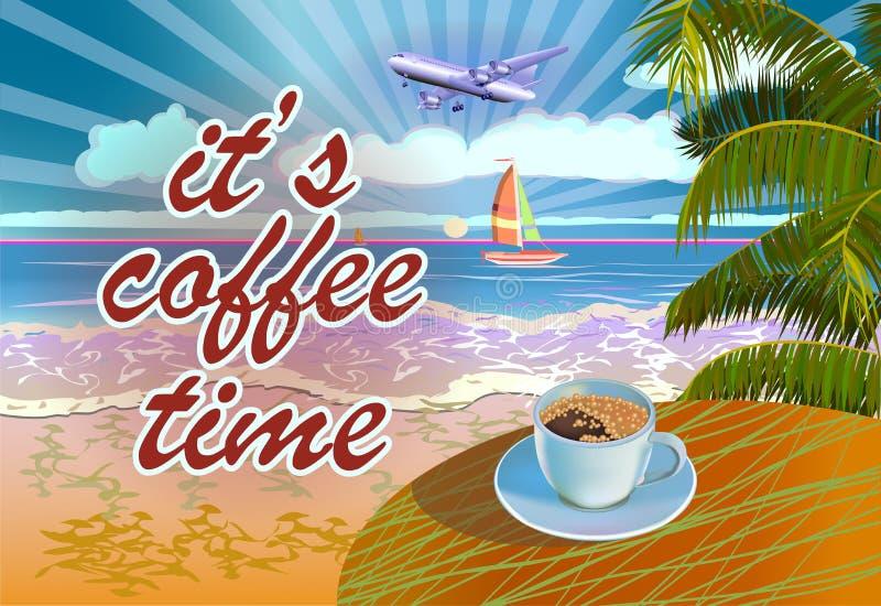 De vectorvakantie van de Bannerzomer en reisontwerp Koffie op de lijst in de zomer vector illustratie