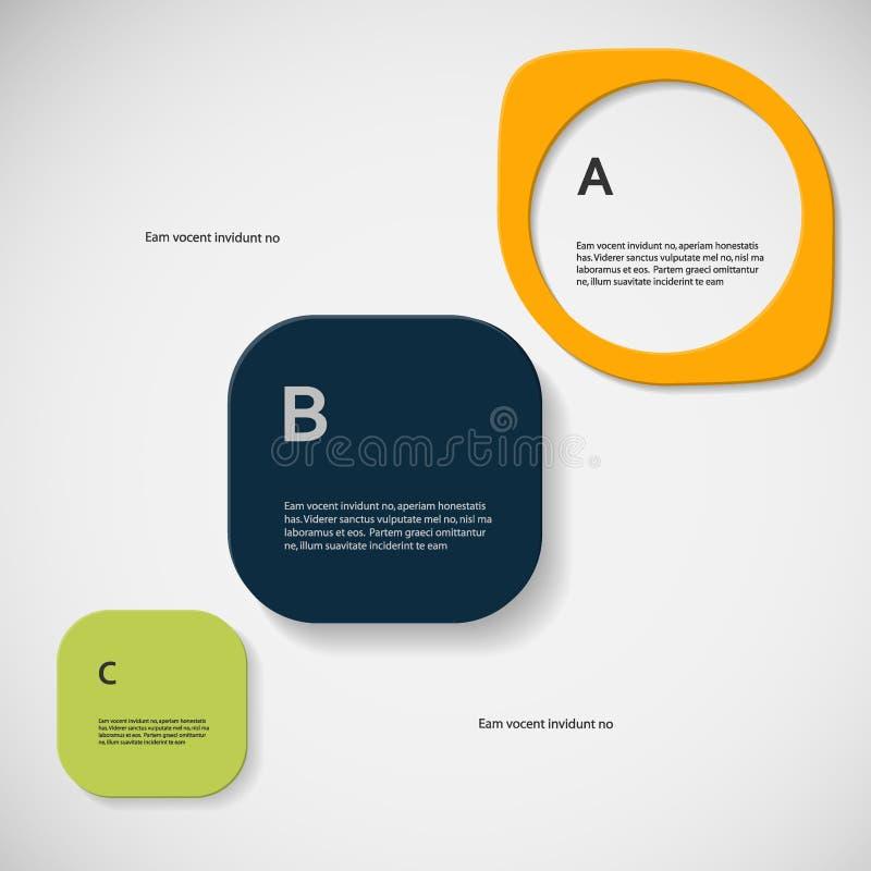 De vectorverbinding van kleuren abstracte vormen met tekst stock illustratie