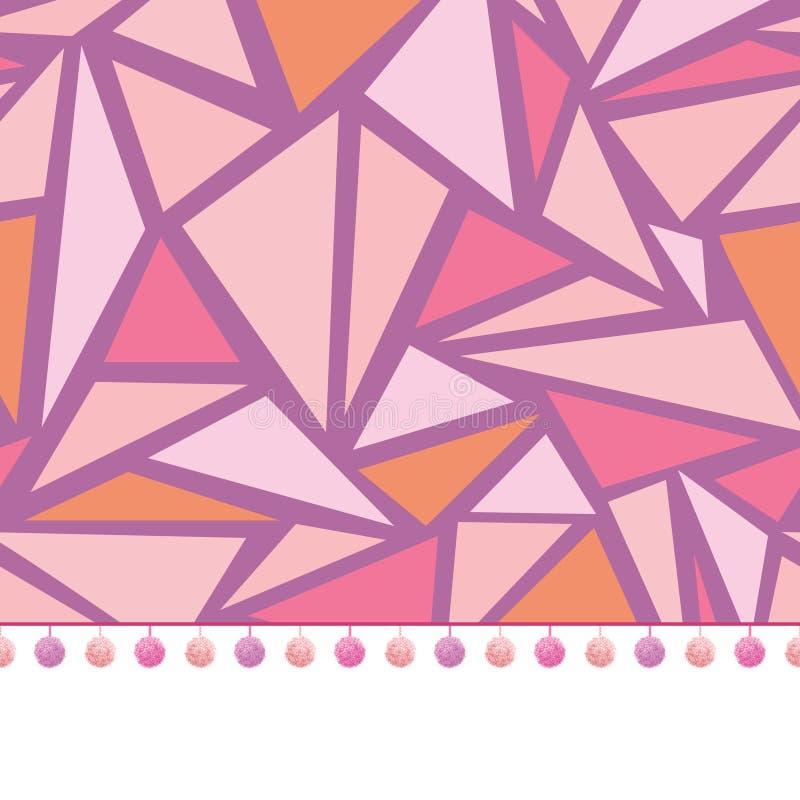 De vectorversiering van de pompomgrens op roze naadloos driehoekenmozaïek herhaalt van het achtergrond patroonontwerp druk Perfec vector illustratie