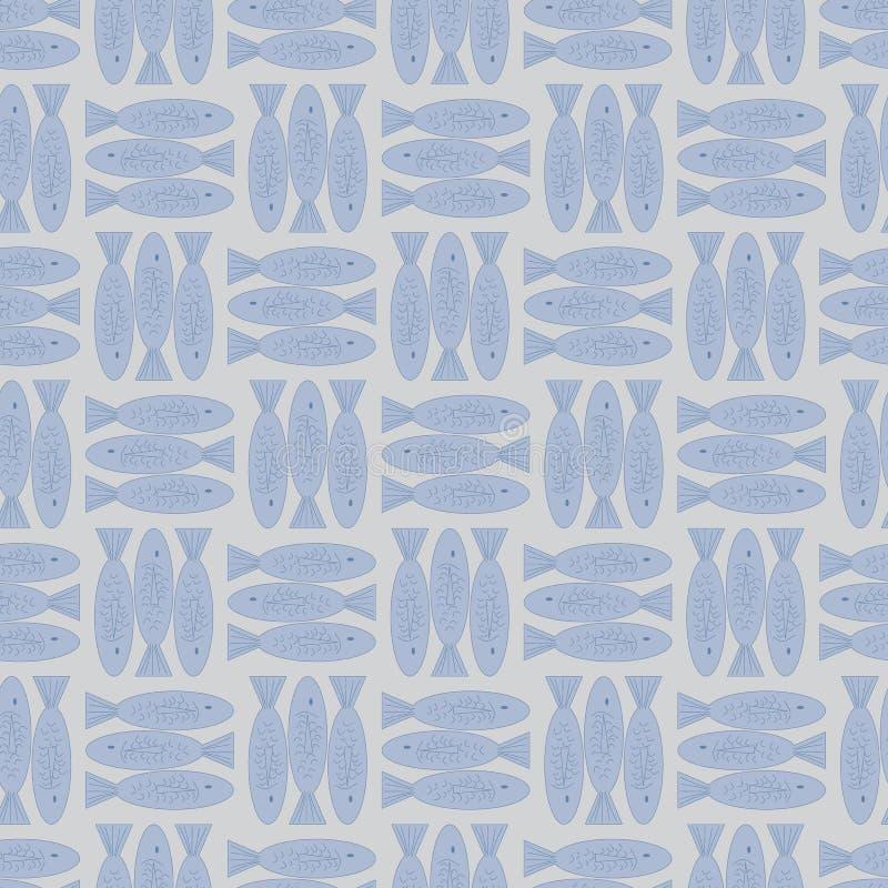 De vectorvissen in Pastelkleur Blauwe en Bruine Naadloos herhalen Patroon stock illustratie