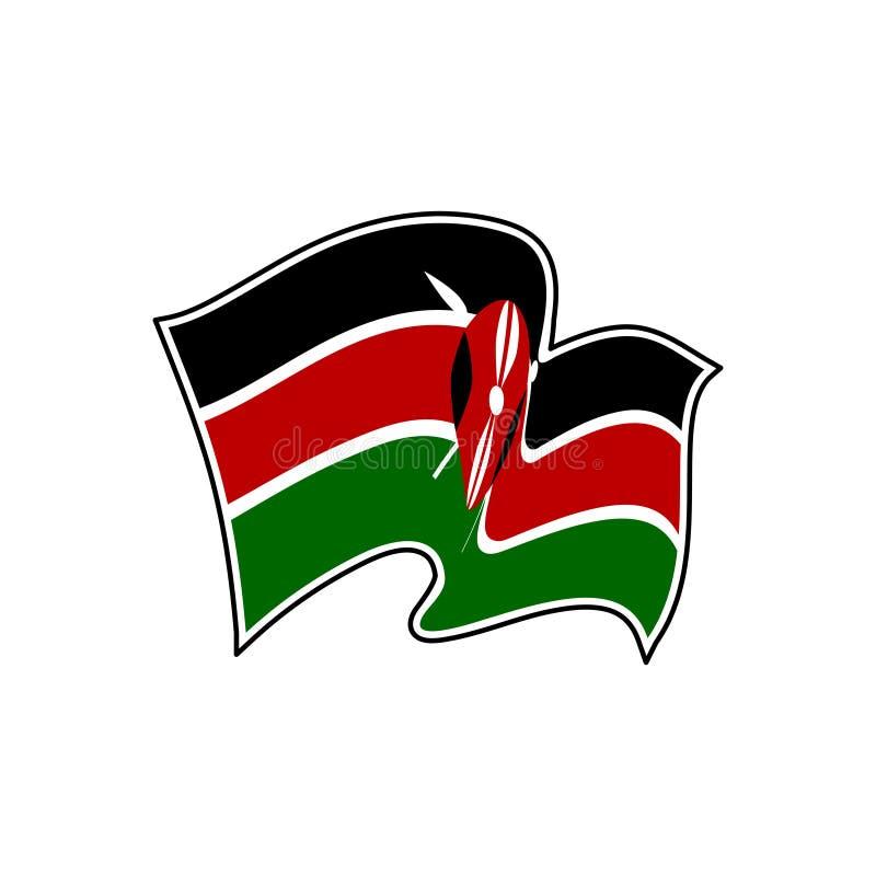 De vectorvlag van Kenia Nationaal symbool van Kenia vector illustratie
