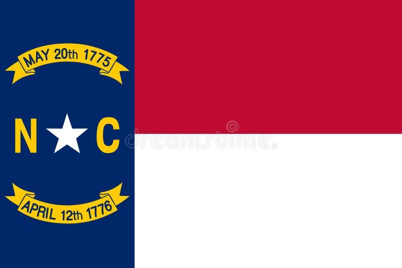 De vectorvlag van Noord-Carolina Vector illustratie De Verenigde Staten van Amerika royalty-vrije illustratie
