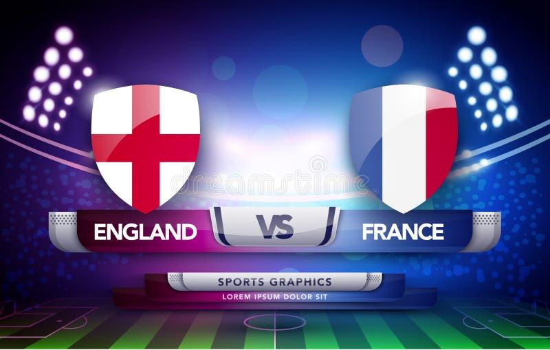 De vectorvlag van de de voetbalkop van het wereldkampioenschap en stadionachtergrond De gelijke van het voetbalscorebord versus h royalty-vrije illustratie