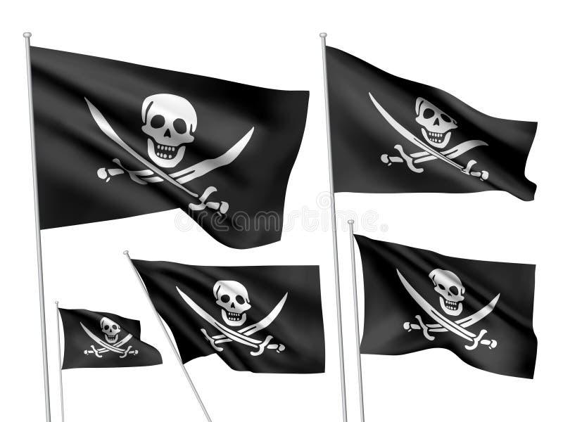 De vectorvlaggen van Jolly Roger van piraten stock illustratie