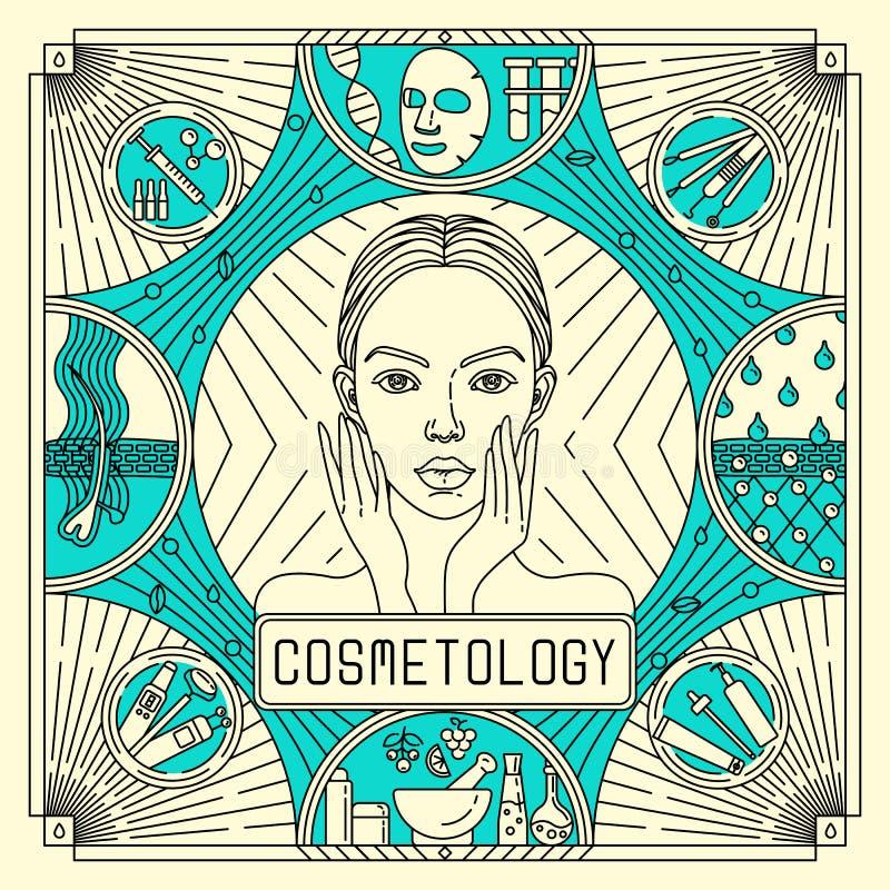 De vectorvlakte, schetst blauwe en gele ontwerpaffiche voor huidzorg Advertenties voor de Kosmetiek met vrouwenportret, acne royalty-vrije stock foto